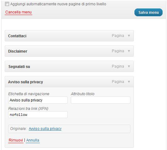 link nofollow menu sito wordpress