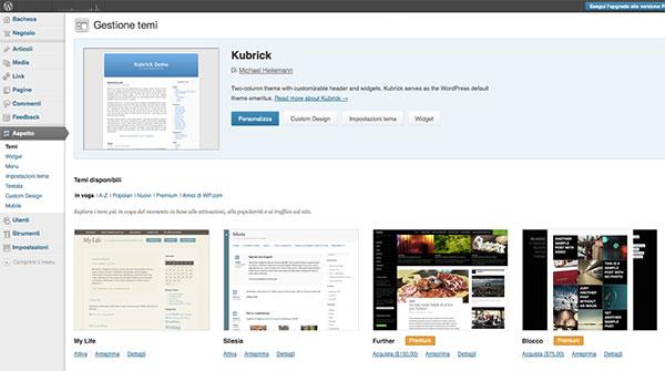 wordpress.com temi preinstallati
