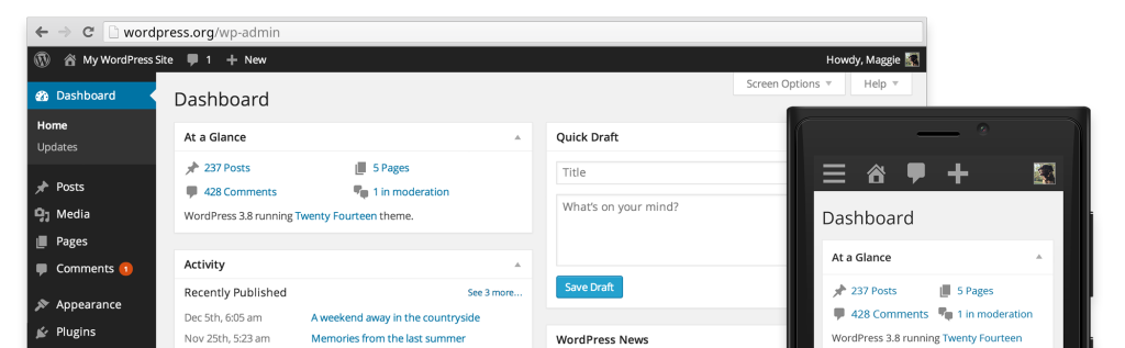 "WordPress 3.8 ""Update Grafico"""