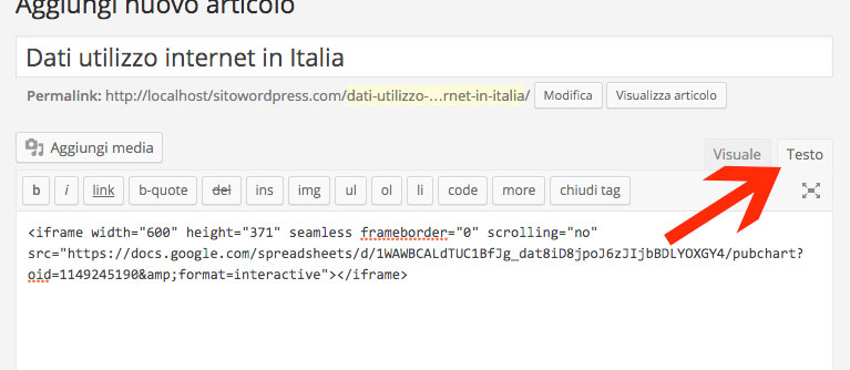 codice google drive su pagina wp