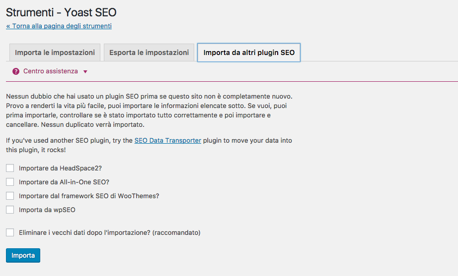 Passare da All in One SEO Pack a Yoast SEO
