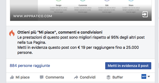 metti in evidenza post facebook