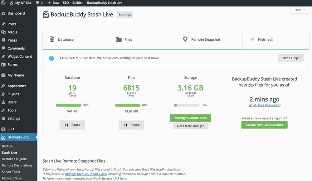 backupbuddy stash live page
