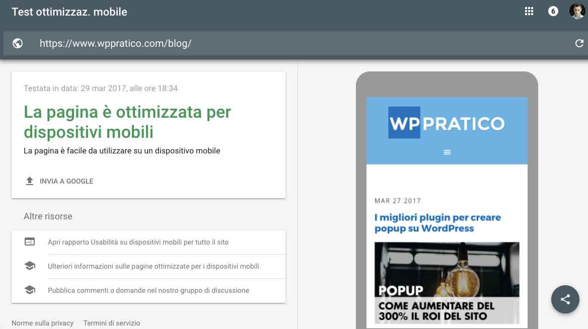 test ottimizzazione mobile google