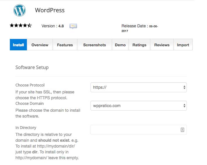hosting installazione wordpress