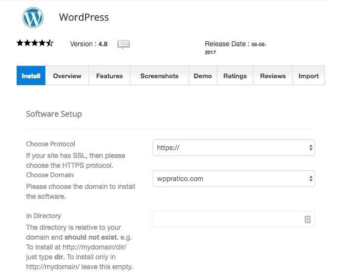 hosting installazione wordpress