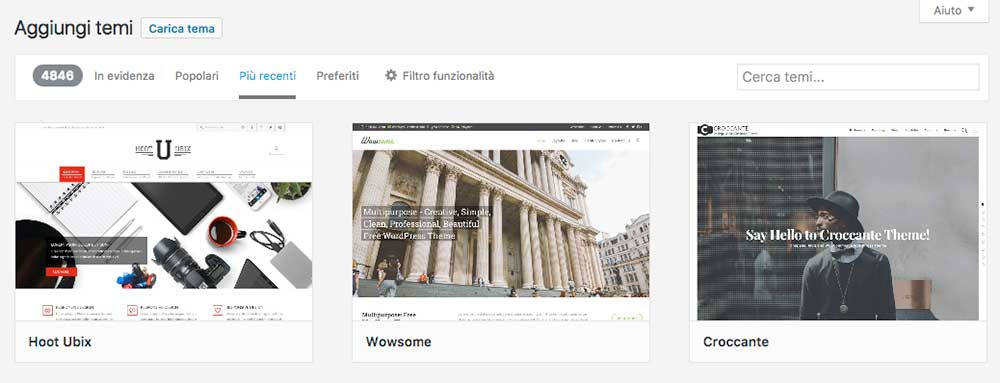 scelta tema wordpress